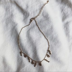 pacsun gold charm choker necklace